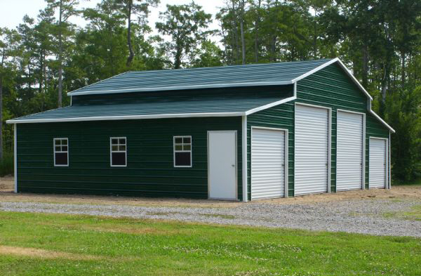 green metal barn