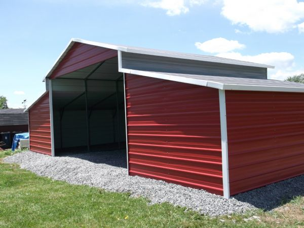 Traditional Barn with lean tos and back section closed, center gable Item # 25